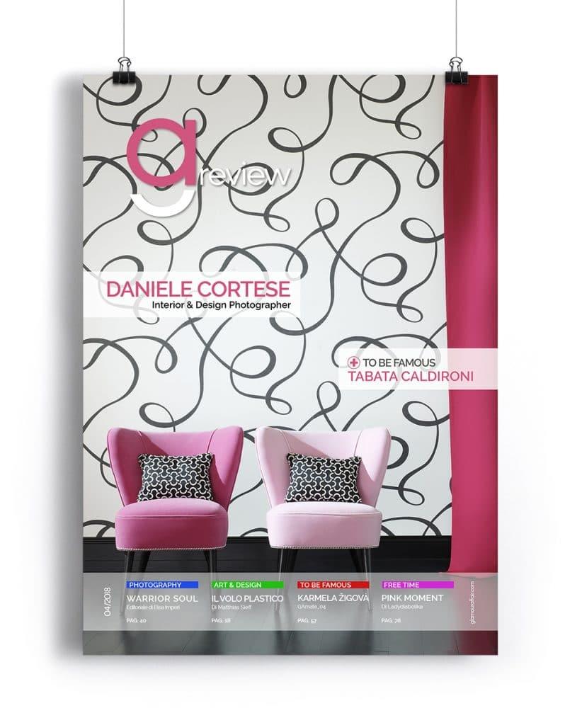 Copertina GAreview Aprile 2018, magazine fotografico di glamouraffair.com; in copertina una foto di Daniele Cortese, Interior & Design Photographer