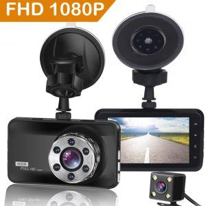 """ORSKEY Dash Cam Front and Rear 1080P Full HD Dual Dash Camera In Car Camera Dashboard Camera Dashcam for Cars 170 Wide Angle HDR with 3.0"""" LCD Display Night Vision Motion Detection and G-sensor"""