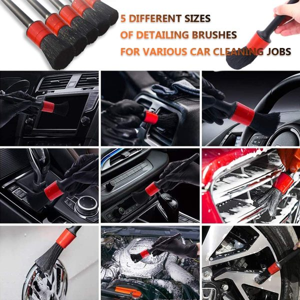Auto Car Boars Hair Detailing Brushes and Drill Brush Attachment Kit, include Polishing Pad Car Drying Towel Wash Mitt Wax Applicator Pad for Cleaning Wheels Interior Exterior Leather Engine Air Vent