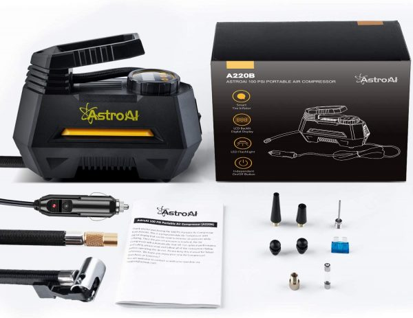 AstroAI Digital Tyre Inflator, Portable Air Compressor Tyre Pump 100 PSI 12V with 2 Ways to Screw & Clip on Valve Connector, Extra Nozzle Adaptors for Car, Bicycle, Motorcycle Ball Air Mattress