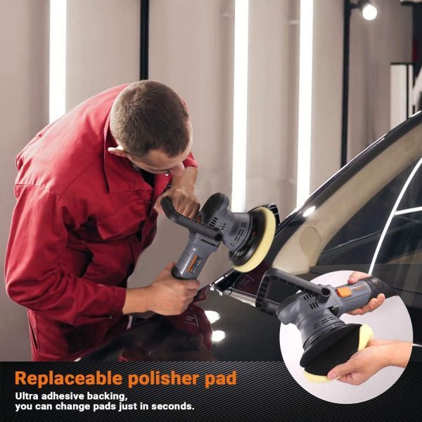 Buffer Polisher, 750W 1500-6400RPM, 4 Foam Pads, 150MM/130MM Dual Action Random Orbital Car Polisher, Car Detailing Kit with Variable Speed, Packing Bag for Car Polishing and Waxing - TACKLIFE PPGJ04A