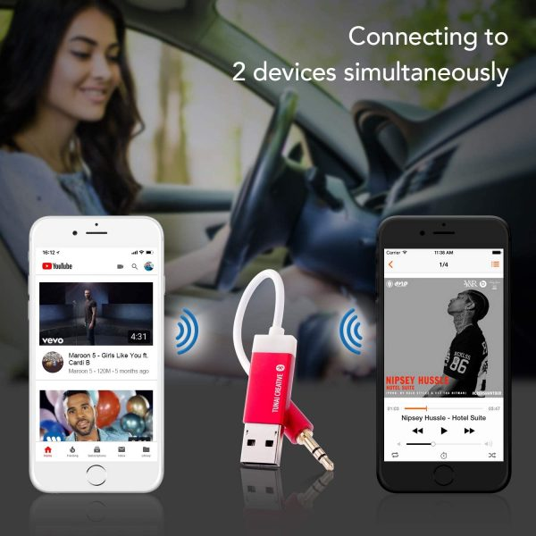 TUNAI Firefly Bluetooth Receiver: World's Smallest Wireless Audio Bluetooth 4.2 Adapter with 3.5mm AUX for Car/Home Stereo Music Streaming; Auto On, No Charging Needed - Car Kit (Black)