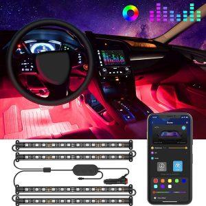 Interior Car Lights, Govee Car LED Strip Light Upgraded Two-Line Design Waterproof 4pcs 48 LED APP Controlled Lighting Kits, Multi DIY Colour Music Under Dash Car Lighting with Car Charger, DC 12V