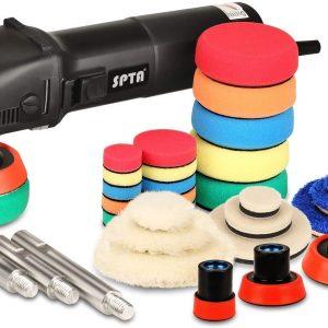 SPTA Mini Polisher, Buffer Polisher 25mm/50mm/80mm 780W, with 6 Variable Speeds, 27pcs Detail Polishing Buffing Pad Ideal for Car Sanding, Polishing, Waxing, Sealing Glaze - HROMPS3ACUK