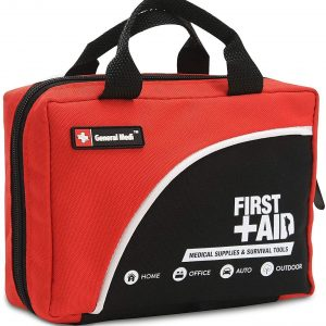 General Medi 160 Piece Premium First Aid Kit Bag - Includes Cold (Ice) Pack, Emergency Blanket for Travel, Home, Office, Car, Camping, Workplace (Red)