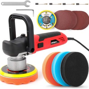 """Hi-Spec 6 Piece 800W 5.7A Dual Action Random Orbital 6"""" Polisher for DIY Auto, Car, Boat, Body, Home Buffing, Polishing & Detailing. Includes Accessories Kit with Sponge & Sanding Pads"""