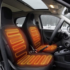 Tvird 1 Pair Heated Car Seat, 12V Heated Car Seat Cover with 3-Way Temperature Controller, Car Heated Seat Cushion Car Heater Car Seat Warmer (Black)