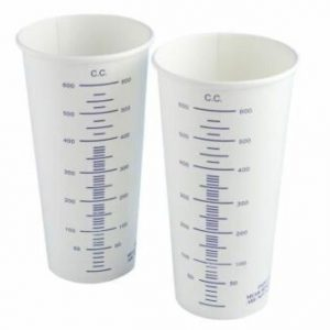 Calibrated Measuring Paint Mixing Waxed Paper Card Cups 600cc x100