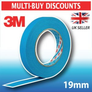 3M Protection Tape 19mm x 50m 3434 Blue Masking Car Painting Solvent Resistant