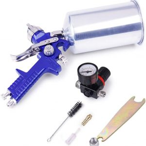1.4MM HVLP Gravity Feed Paint Sprayers: CarBole 1000CC Aluminum Cup Auto Air Spray Gun Airbrush Painting Tool Kit for Touch-up auto Paint | Primer | Clear top Coat (Blue)