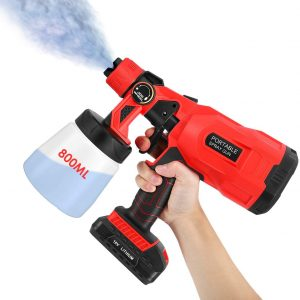TOPQSC Electric Cordless Paint Sprayer, 800ML HVLP Spray Gun with 3 Spraying Modes, Adjustable Valve Knobs, Flow Control and Removable Container Rechargable Spray Tool for Ceilings Walls Fence