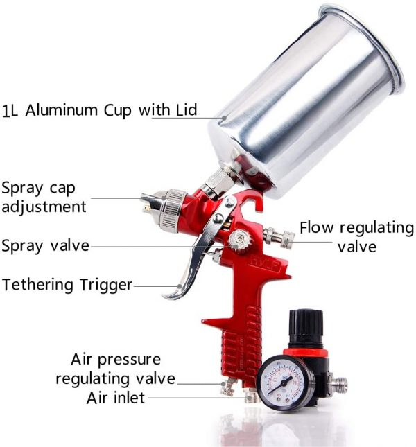 1.4MM HVLP Gravity Feed Paint Sprayers: CarBole 1000CC Aluminum Cup Auto Air Spray Gun Airbrush Painting Tool Kit for Touch-up auto Paint   Primer   Clear top Coat (Red)