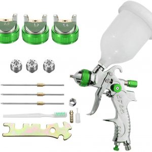 HVLP Gravity Feed Air Spray Gun Professional Airbrush Painting Tool Kit with 3 Nozzle 1.4MM 1.7MM 2.0MM & 600CC Cup Spray Gun Set for Car Auto Repair Tool Painting Kit(Green)