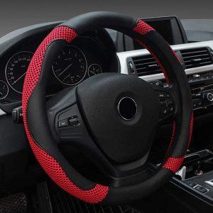 FREESOO Steering Wheel Cover Leather Universal 38cm/15 inch Car Anti-slip Wheel Sleeve Protector Interior Accessories for Auto Van Truck SUV