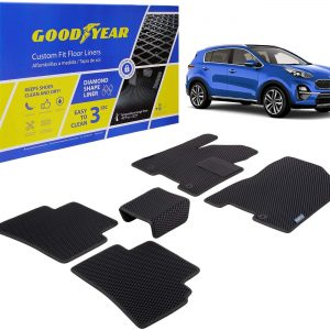 Goodyear Custom Fit Car Floor Liners for Kia Sportage 2017-2020, Black/Black 5 Pc. Set, All-Weather Diamond Shape Liner Traps Dirt, Liquid, Rain and Dust, Precision Interior Coverage - GY004168