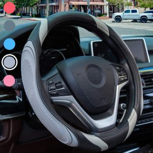Steering Wheel Cover - Car Wheel Cover Leather, Sportage Universal Size M 37-38cm /14.5-15inch, Anti-slip, Breathable, Blue