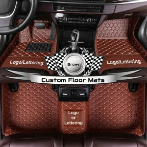 Custom Car Floor Mats Customizable Auto Liner Carpet Luxury Leather All Weather Protection Full Set (Wine Red)