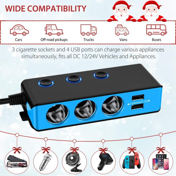 [Upgraded Version] QUICK CHARGE 3.0 Cigarette Lighter Adapter, CHGeek 120W 12V/24V 3-Socket Car Power DC Outlet Splitter with 8.5A 4 USB Charging Ports & LED Voltmeter Power Switch Car Charger-Black