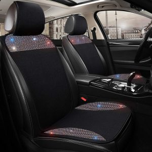 dayutech 1 Piece Universal Breathable Mesh Front Car Seat Cover Protector Pad Mat for Women Girls with Bling Bling Crystal Rhinestones Diamond Four Season