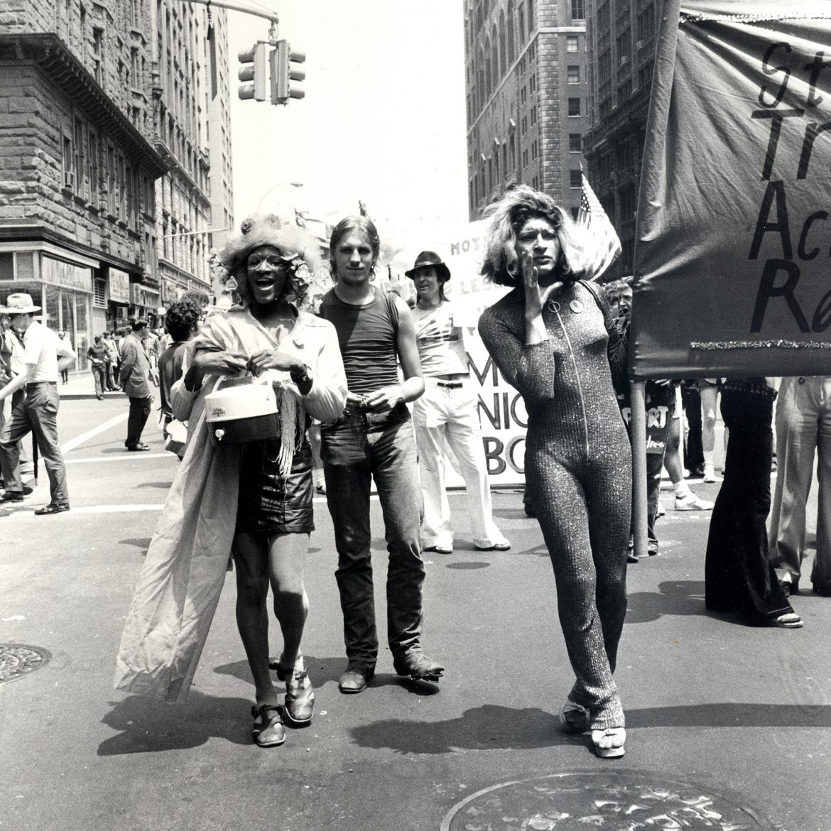Marsha P. Johnson (left) and Sylvia Rivera (right), co-founders of the Street Transvestite Action Revolutionaries (STAR) at the Christopher Street Liberation Day Gay Pride Parade, New York City, June 24, 1973. Credit: Leonard Fink, courtesy LGBT Community Center National History Archive.