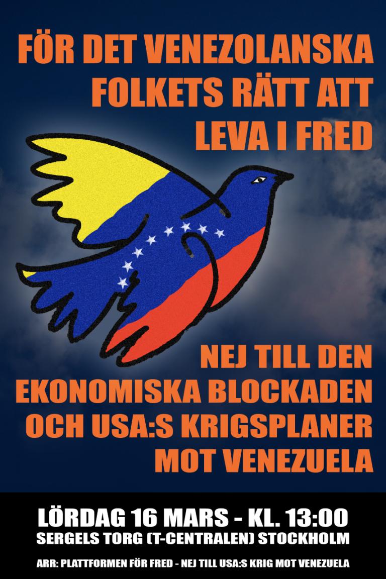 Kom till manifestation för fred i Venezuela  på Sergels torg kl 13!