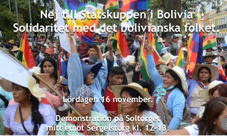 Bolivia: Kom och visa din solidaritet för demokrati mot senaste USA-stödda statskuppen! Idag kl 12: Soltorget vid Sergels torg.