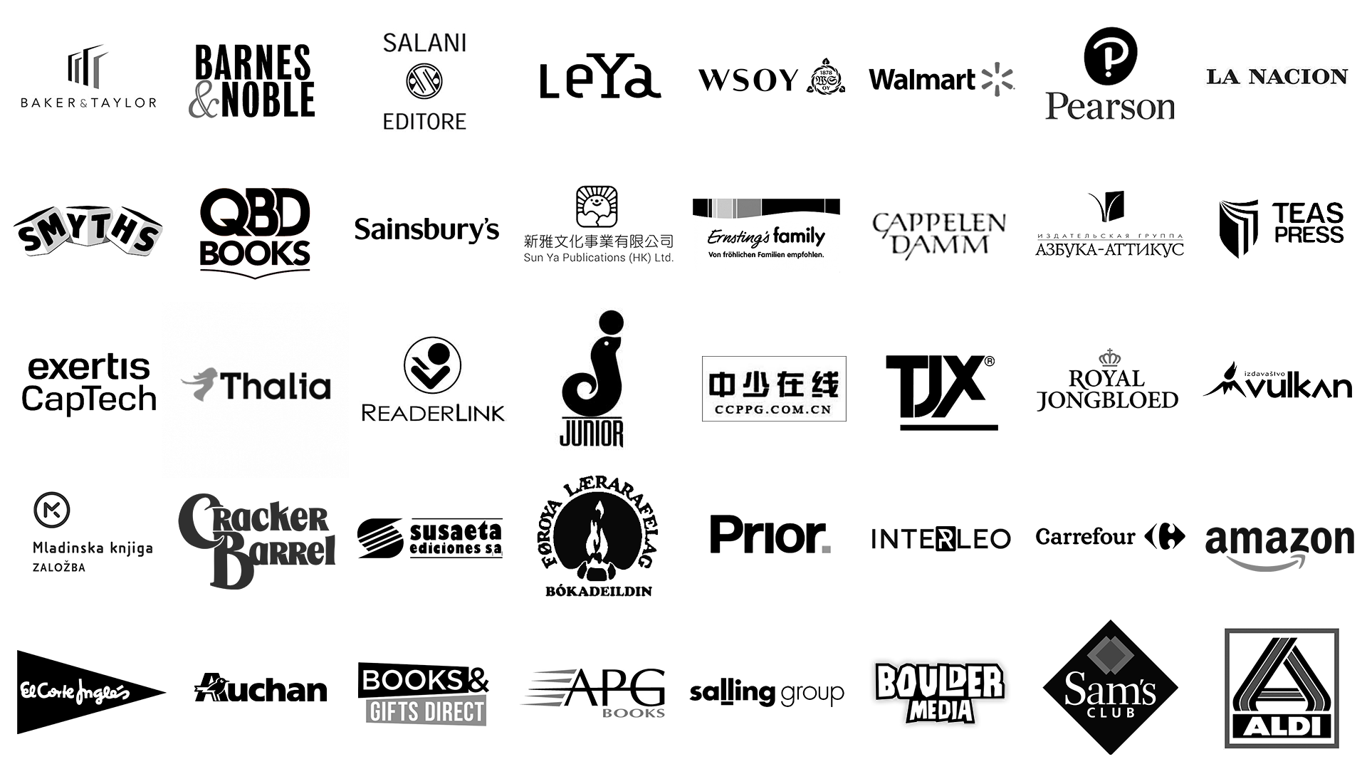 Logos for 40 brands, that Globe Publishing has worked with