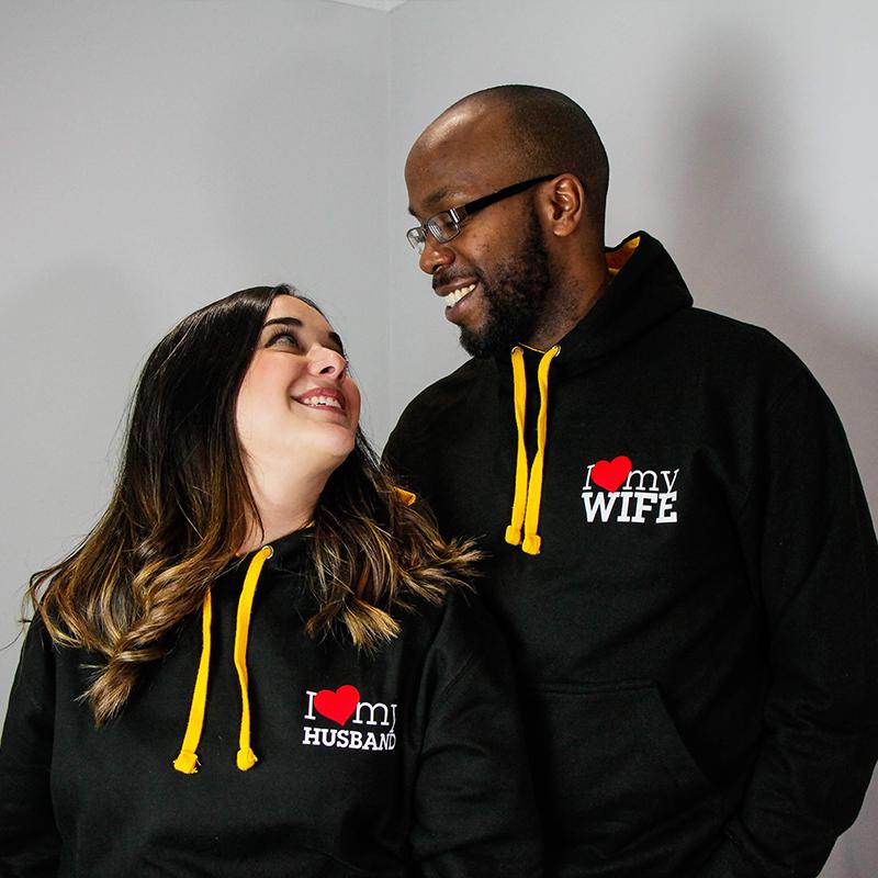 Go Tell Ltd   I Love My Husband - I Love My Wife   Varsity Hoodie   Jet Black/Gold