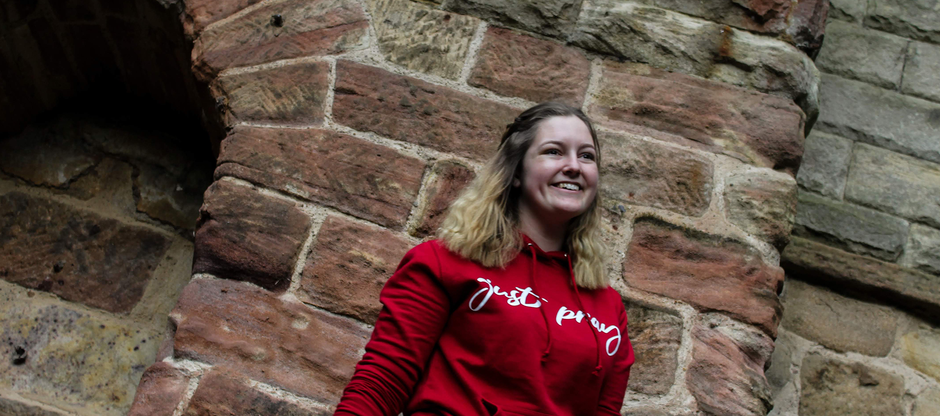 Go Tell Ltd | Just Pray | Girlie College Hoodie | Red Hot Chili