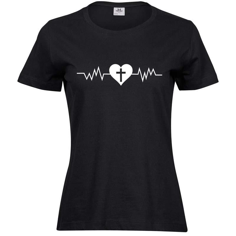 Heartbeat   Ladies Sof T-Shirt   Black   White print
