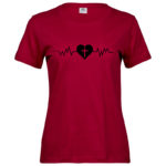 Heartbeat   Ladies Sof T-Shirt   Deep Red   Black print
