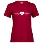 Heartbeat   Ladies Sof T-Shirt   Deep Red   White print