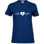 Heartbeat   Ladies Sof T-Shirt   Indigo   White print