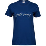 Just Pray   Ladies Sof T-Shirt   Indigo   Silver print