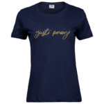 Just Pray   Ladies Sof T-Shirt   Navy   Gold print