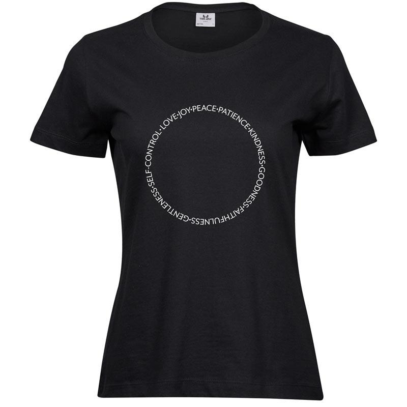 Fruits of the Spirit   Ladies Sof T-Shirt   Black   White print