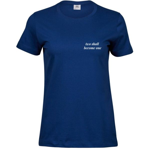 Two Shall Become One   Ladies Sof T-Shirt   Indigo   White print   Small   Go Tell Ltd