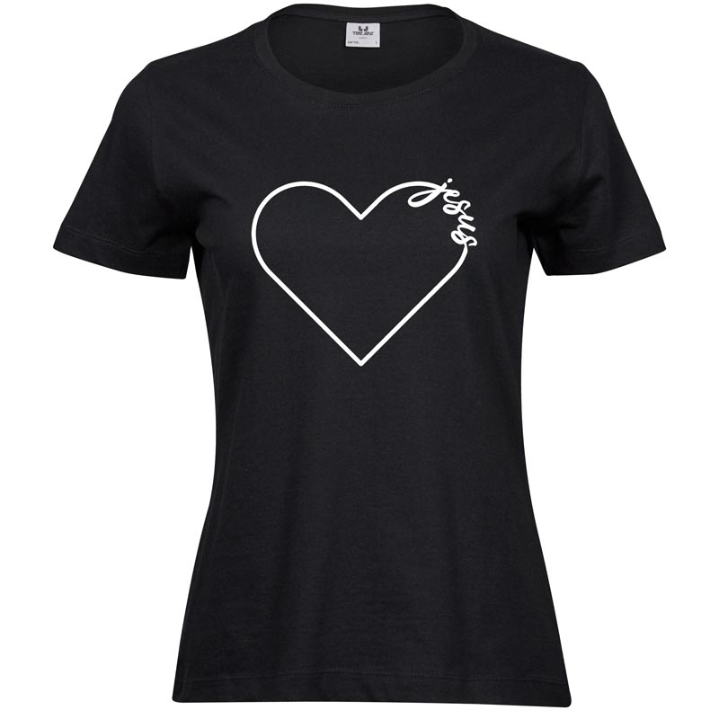 Jesus Heart   Ladies Sof T-Shirt   Black   White