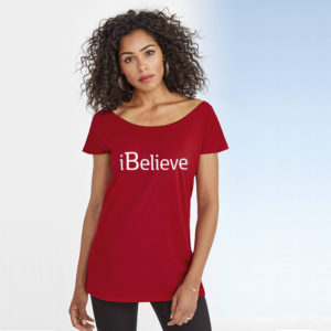 iBelieve | Ladies Marilyn Long T-Shirt | Tango Red