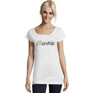 iWorship | Ladies Marilyn Long T-Shirt | White