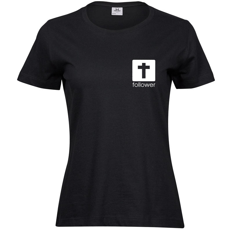 Follower Plain   Ladies Sof T-Shirt   Black   White print