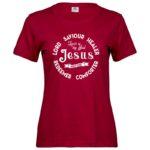 Jesus Holy One   Ladies Sof T-Shirt   Deep Red   White print