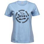 Jesus Holy One   Ladies Sof T-Shirt   Light Blue   Black print