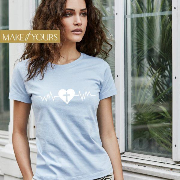 Heartbeat   Ladies Sof T-Shirt   Sky Blue   White Print   Go Tell Ltd