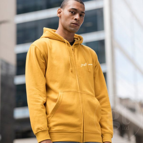 Just Pray   Zip hoodie   Mustard   White Print   Go Tell Ltd