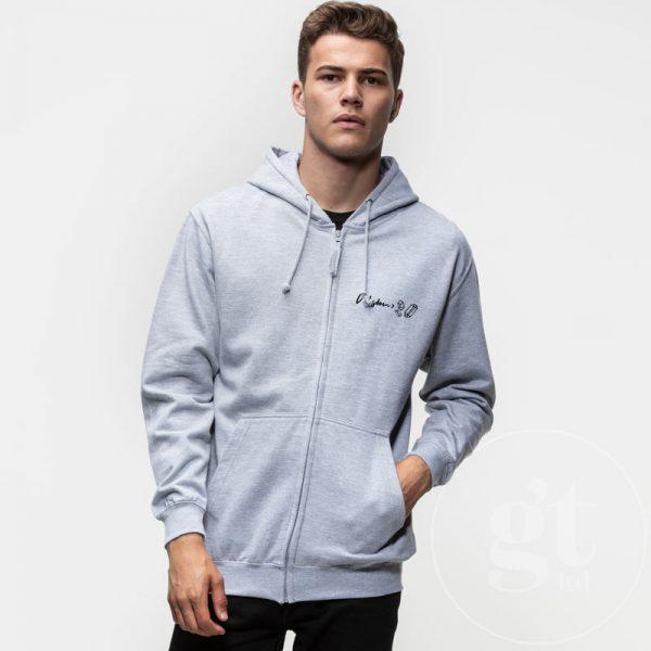 Wisdom   Zip hoodie   heather grey   small black print