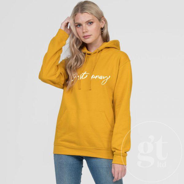 Just Pray | Hoodie | Mustard | White Print | Go Tell Ltd