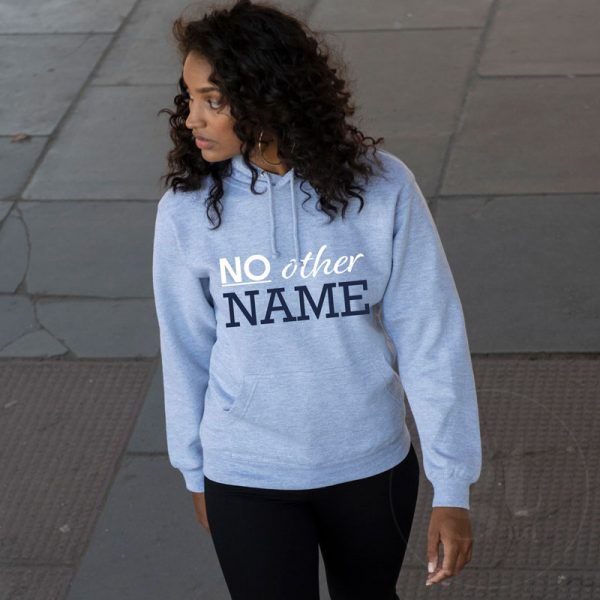 No Other Name | Hoodie | Heater Grey | White & Navy Print | Go Tell Ltd