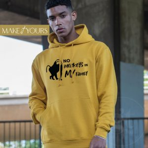 No Monkeys   College Hoodie   Gold   Black Print   Go Tell Ltd