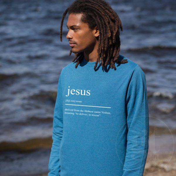 Jesus Noun   Sweatshirt   Ink Blue   White Print   Go Tell Ltd